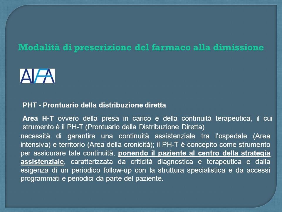 Modalità di prescrizione del farmaco alla dimissione PHT - Prontuario della distribuzione diretta Area H-T ovvero della presa in carico e della contin