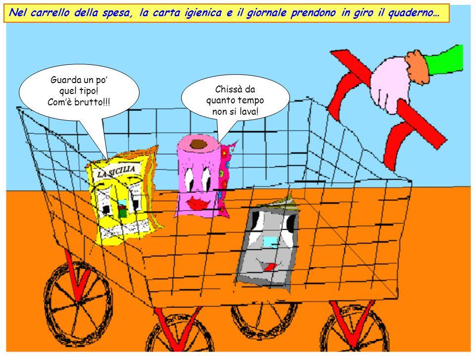 In un supermercato di Canicattì, Vincenzo aiuta la mamma a fare la spesa. Tu scegli il quaderno, io penso a prendere la carta igienica e il giornale.