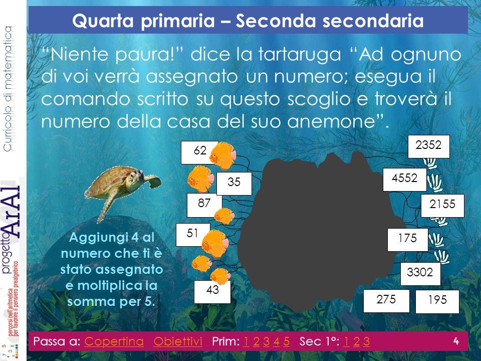 (1)Rappresenta per Brioshi i modi nei quali hai trovato i numeri degli anemoni.