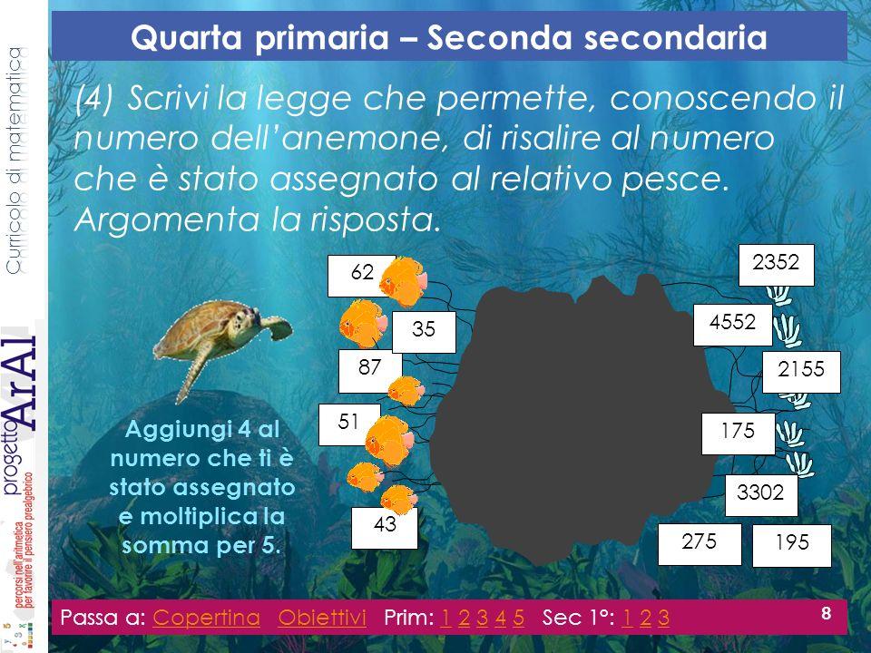 (4) Scrivi la legge che permette, conoscendo il numero dellanemone, di risalire al numero che è stato assegnato al relativo pesce.