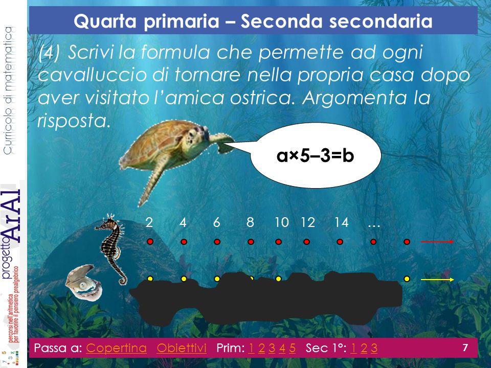 (4) Scrivi la formula che permette ad ogni cavalluccio di tornare nella propria casa dopo aver visitato lamica ostrica.
