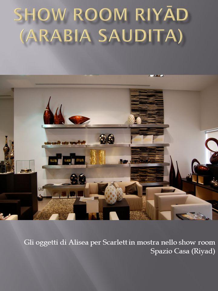 Gli oggetti di Alisea per Scarlett in mostra nello show room Spazio Casa (Riyad)