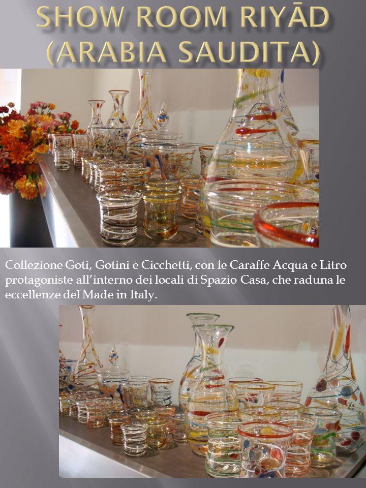 Collezione Goti, Gotini e Cicchetti, con le Caraffe Acqua e Litro protagoniste allinterno dei locali di Spazio Casa, che raduna le eccellenze del Made in Italy.