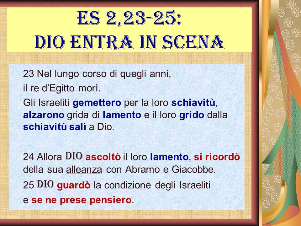 Es 2,23-25: Dio entra in scena 23 Nel lungo corso di quegli anni, il re dEgitto morì. Gli Israeliti gemettero per la loro schiavitù, alzarono grida di