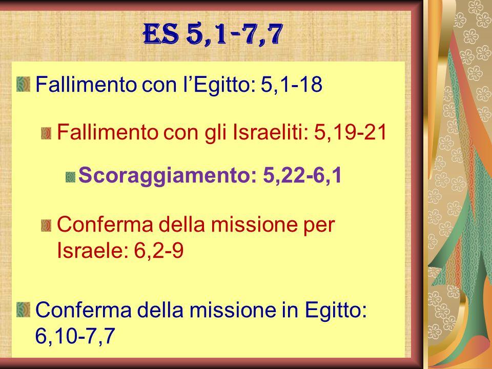 Es 5,1-7,7 Fallimento con lEgitto: 5,1-18 Fallimento con gli Israeliti: 5,19-21 Scoraggiamento: 5,22-6,1 Conferma della missione per Israele: 6,2-9 Co