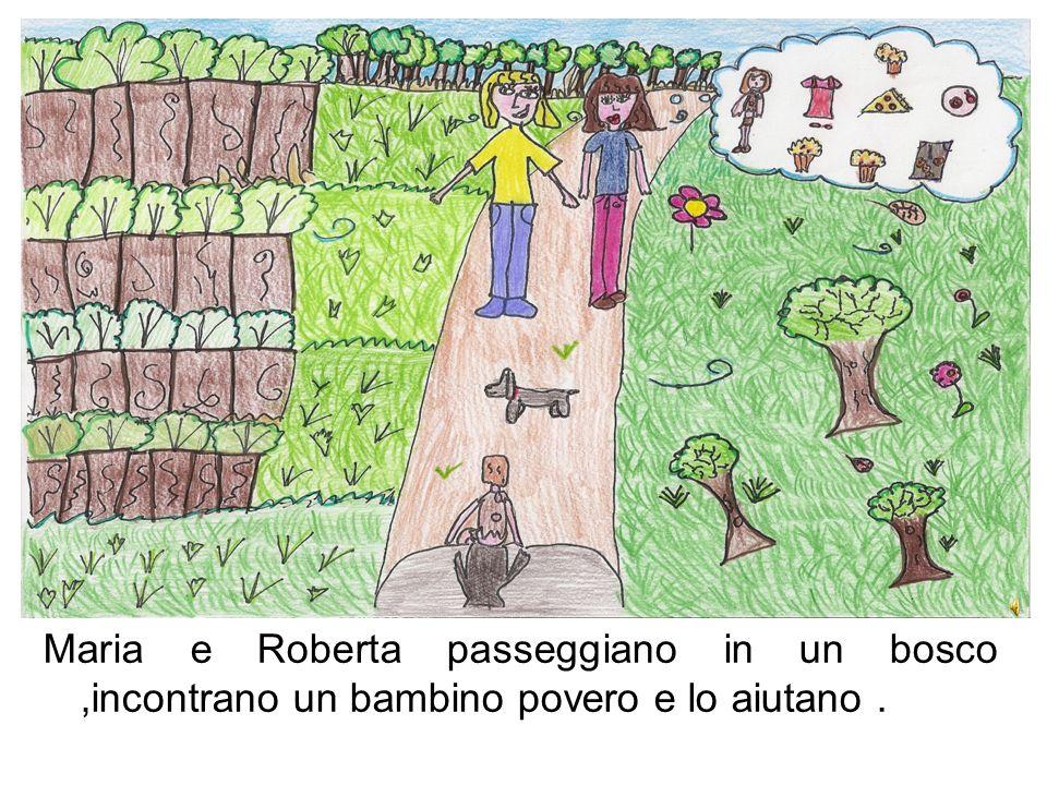 Maria e Roberta passeggiano in un bosco,incontrano un bambino povero e lo aiutano.