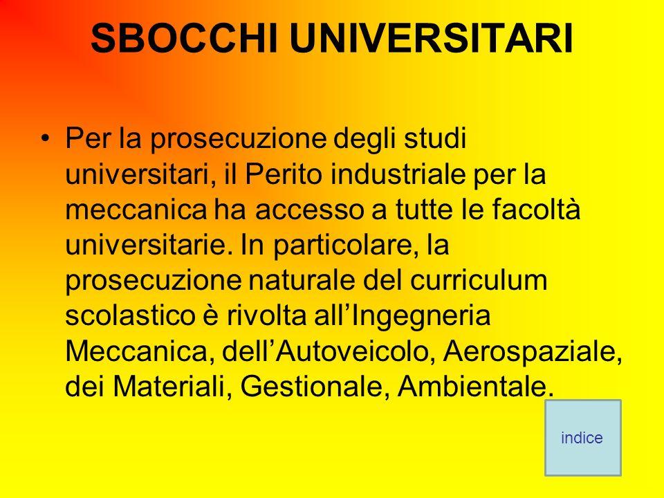 SBOCCHI UNIVERSITARI Per la prosecuzione degli studi universitari, il Perito industriale per la meccanica ha accesso a tutte le facoltà universitarie.