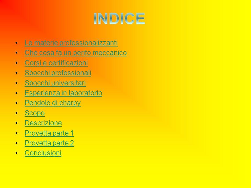 Le materie professionalizzanti Che cosa fa un perito meccanico Corsi e certificazioni Sbocchi professionali Sbocchi universitari Esperienza in laboratorio Pendolo di charpy Scopo Descrizione Provetta parte 1 Provetta parte 2 Conclusioni