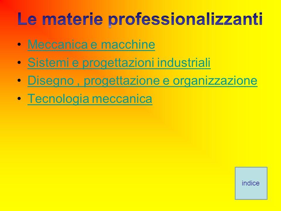 Meccanica e macchine Sistemi e progettazioni industriali Disegno, progettazione e organizzazione Tecnologia meccanica indice