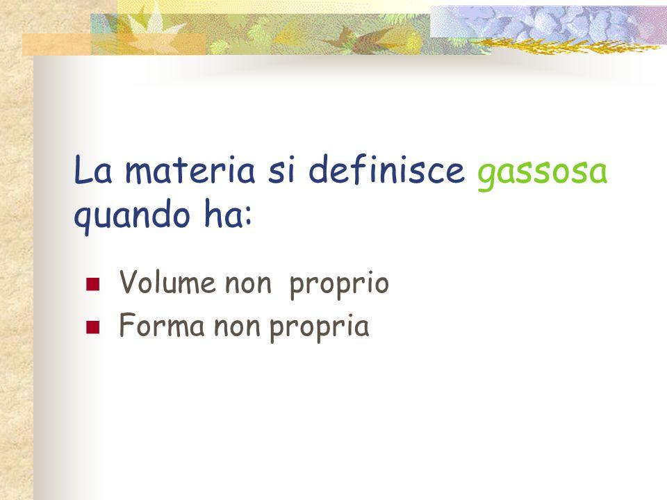 La materia si definisce liquida quando ha: Volume proprio Forma non propria ma del recipiente in cui è contenuta