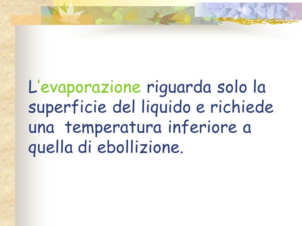 Cambiamenti di stato Stato fisico iniziale Stato fisico finale Solido FusioneLiquido SolidificazioneSolido Liquido Evaporazione Evaporazione Ebollizio