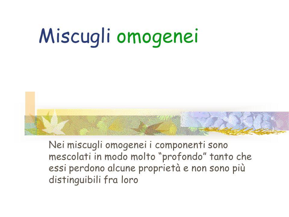 La materia si può aggregare formando Miscugli omogenei Miscugli omogenei Miscugli eterogenei