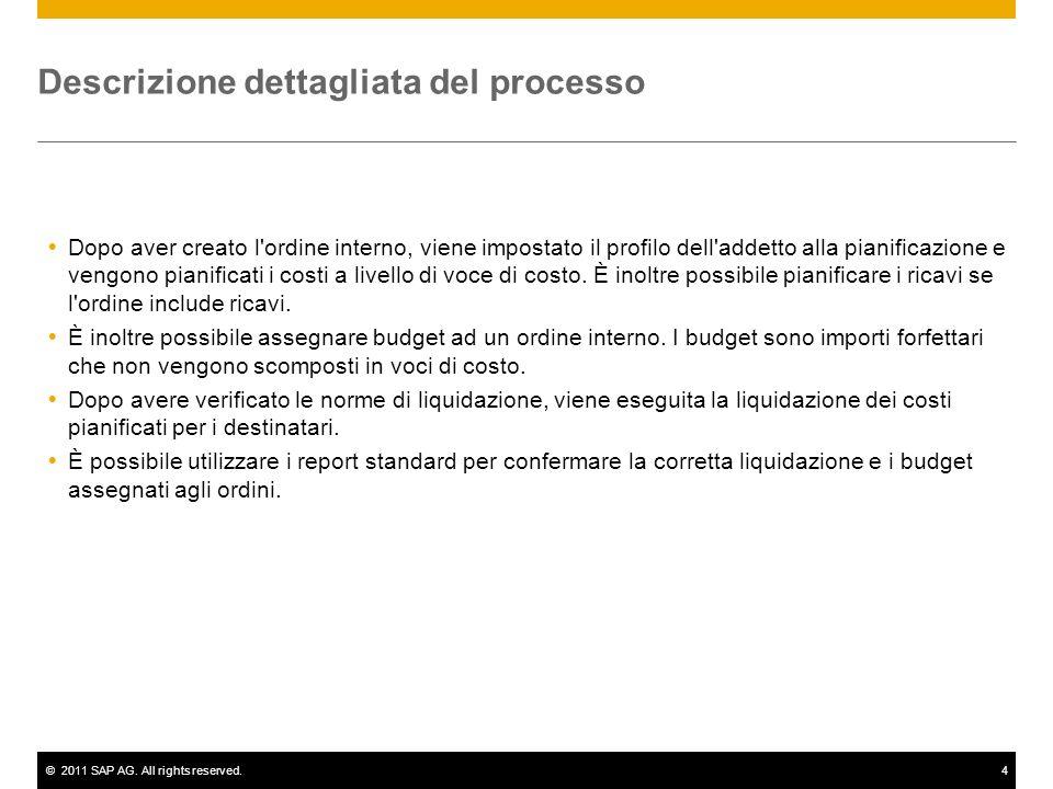 ©2011 SAP AG. All rights reserved.4 Descrizione dettagliata del processo Dopo aver creato l'ordine interno, viene impostato il profilo dell'addetto al