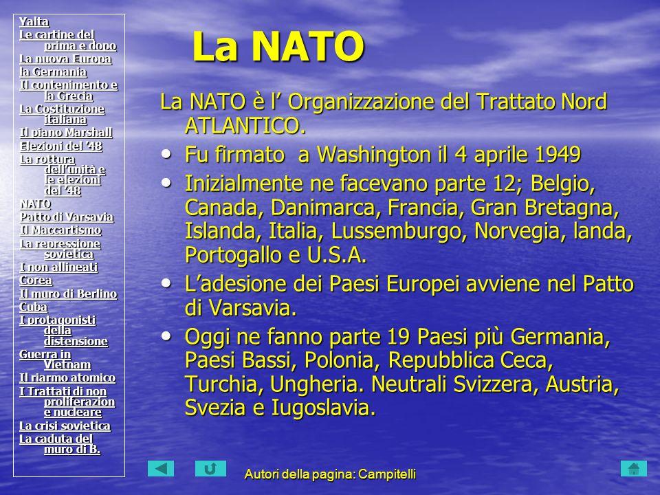 Autori della pagina: Campitelli La NATO è l Organizzazione del Trattato Nord ATLANTICO.