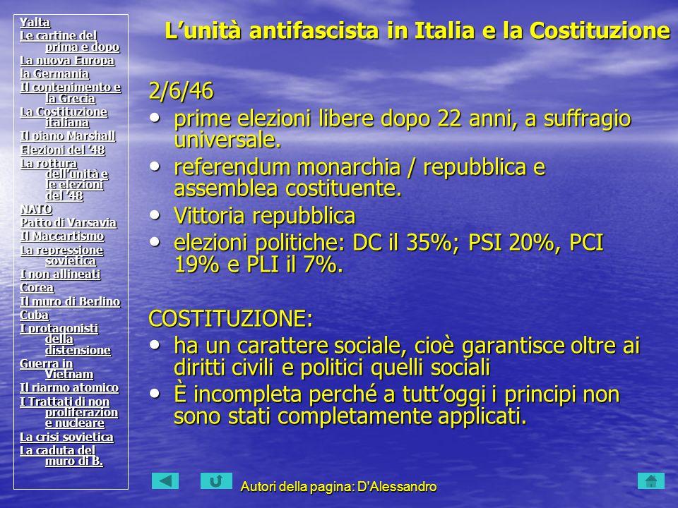 Autori della pagina: D Alessandro 2/6/46 prime elezioni libere dopo 22 anni, a suffragio universale.