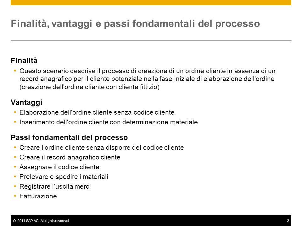 ©2011 SAP AG. All rights reserved.2 Finalità, vantaggi e passi fondamentali del processo Finalità Questo scenario descrive il processo di creazione di