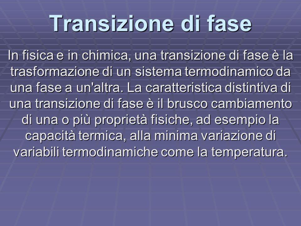 Transizione di fase In fisica e in chimica, una transizione di fase è la trasformazione di un sistema termodinamico da una fase a un'altra. La caratte
