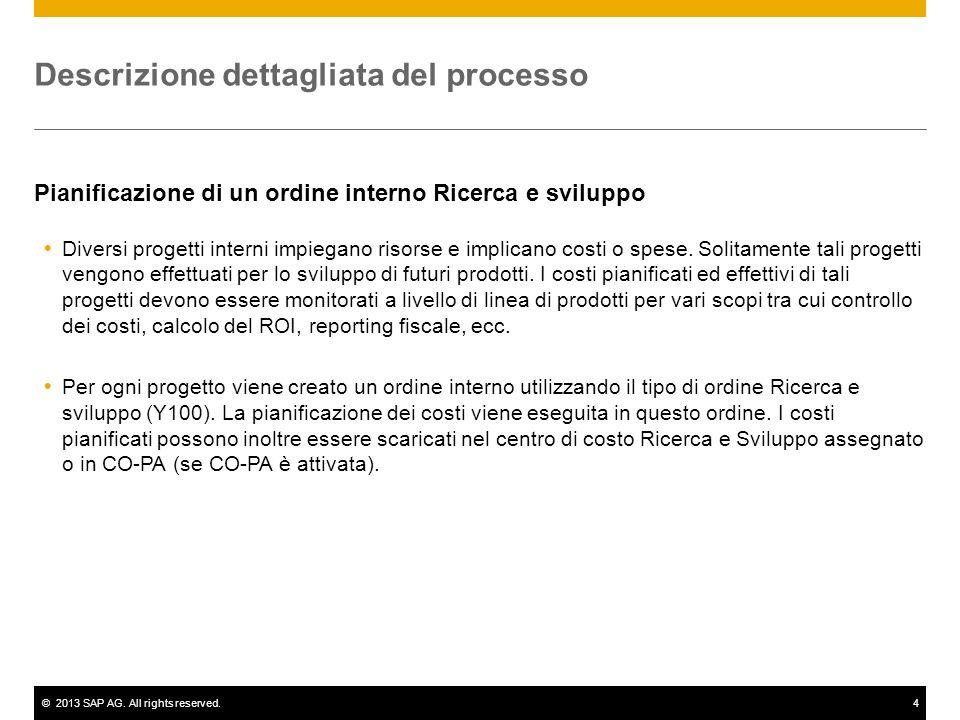 ©2013 SAP AG. All rights reserved.4 Descrizione dettagliata del processo Pianificazione di un ordine interno Ricerca e sviluppo Diversi progetti inter