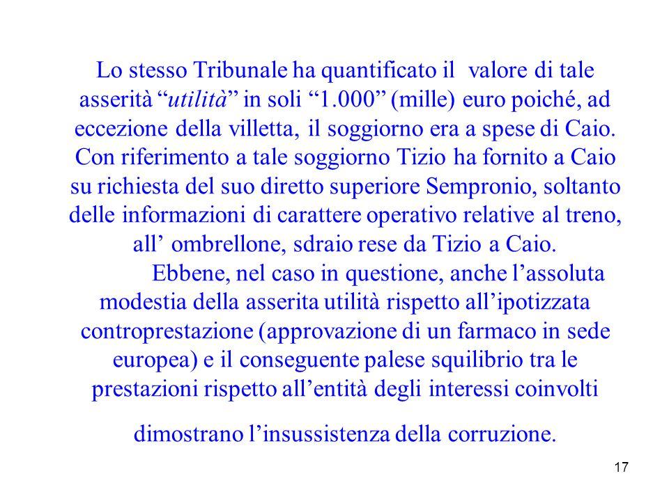17 Lo stesso Tribunale ha quantificato il valore di tale asserità utilità in soli 1.000 (mille) euro poiché, ad eccezione della villetta, il soggiorno