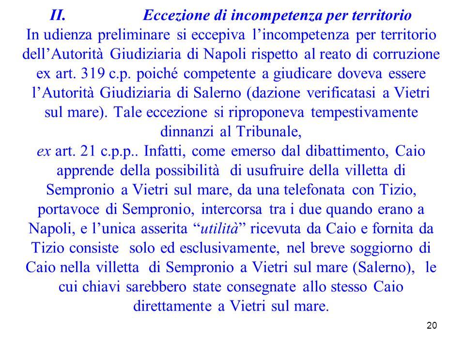 20 II.Eccezione di incompetenza per territorio In udienza preliminare si eccepiva lincompetenza per territorio dellAutorità Giudiziaria di Napoli risp
