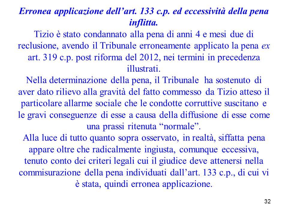 32 Erronea applicazione dellart. 133 c.p. ed eccessività della pena inflitta. Tizio è stato condannato alla pena di anni 4 e mesi due di reclusione, a