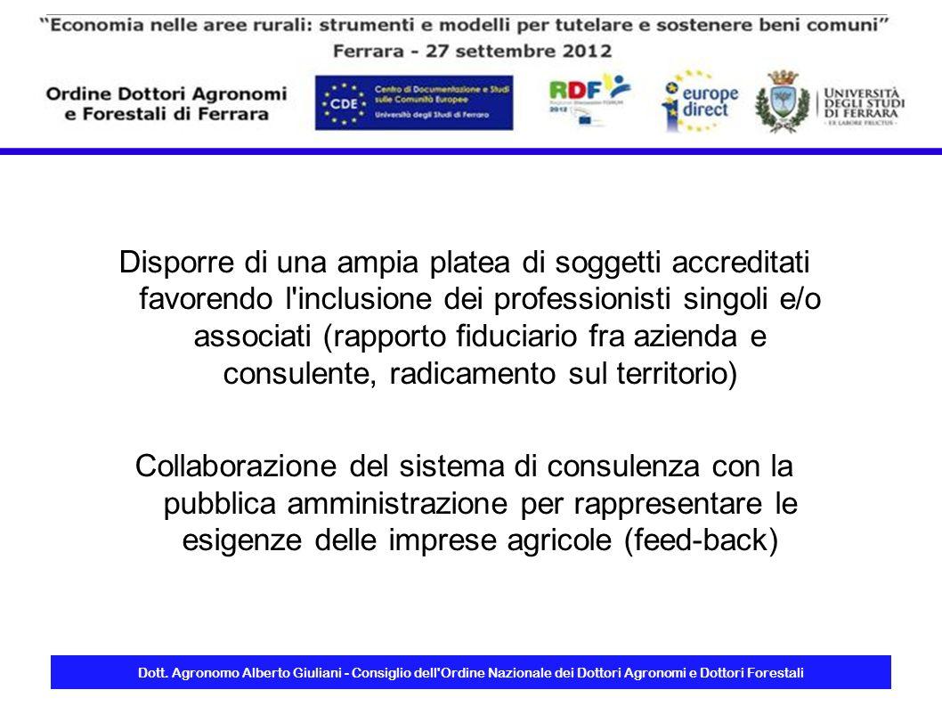 Dott. Agronomo Alberto Giuliani - Consiglio dell'Ordine Nazionale dei Dottori Agronomi e Dottori Forestali Disporre di una ampia platea di soggetti ac