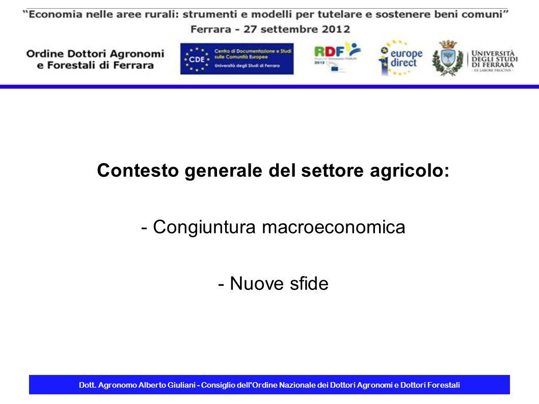 Dott. Agronomo Alberto Giuliani - Consiglio dell'Ordine Nazionale dei Dottori Agronomi e Dottori Forestali Contesto generale del settore agricolo: - C