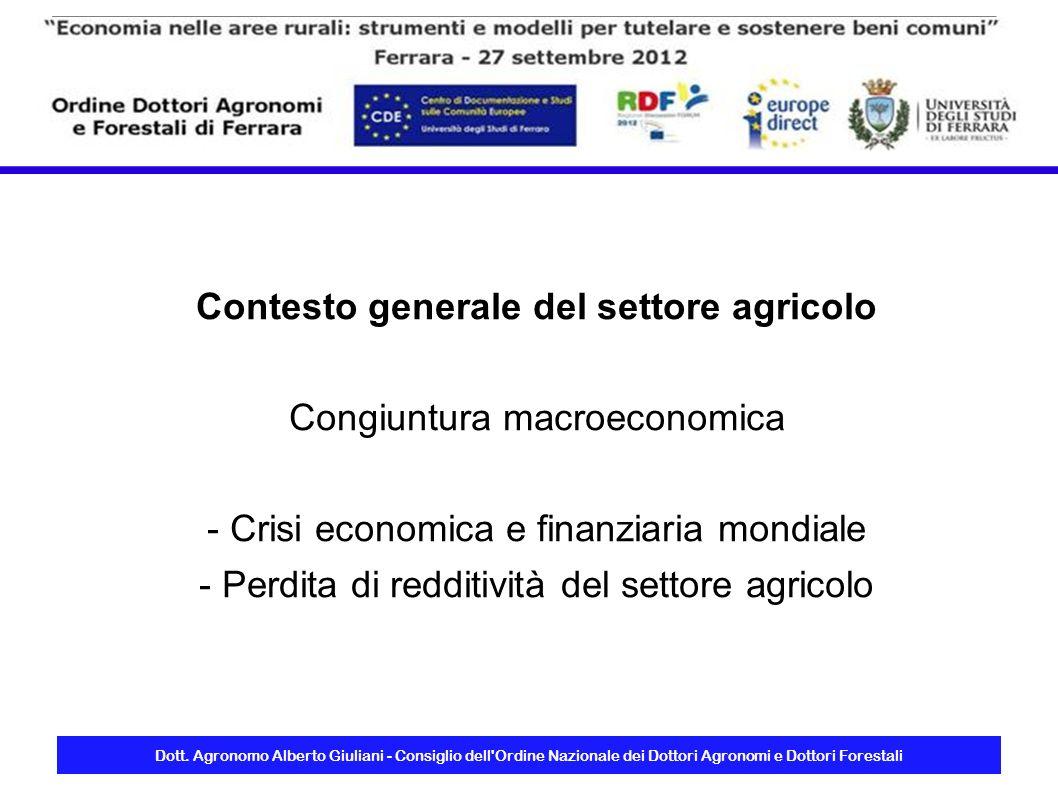 Dott. Agronomo Alberto Giuliani - Consiglio dell'Ordine Nazionale dei Dottori Agronomi e Dottori Forestali Contesto generale del settore agricolo Cong