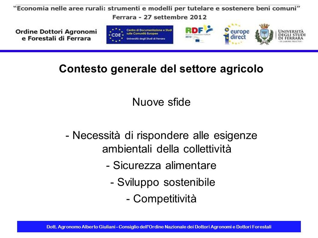 Dott. Agronomo Alberto Giuliani - Consiglio dell'Ordine Nazionale dei Dottori Agronomi e Dottori Forestali Contesto generale del settore agricolo Nuov