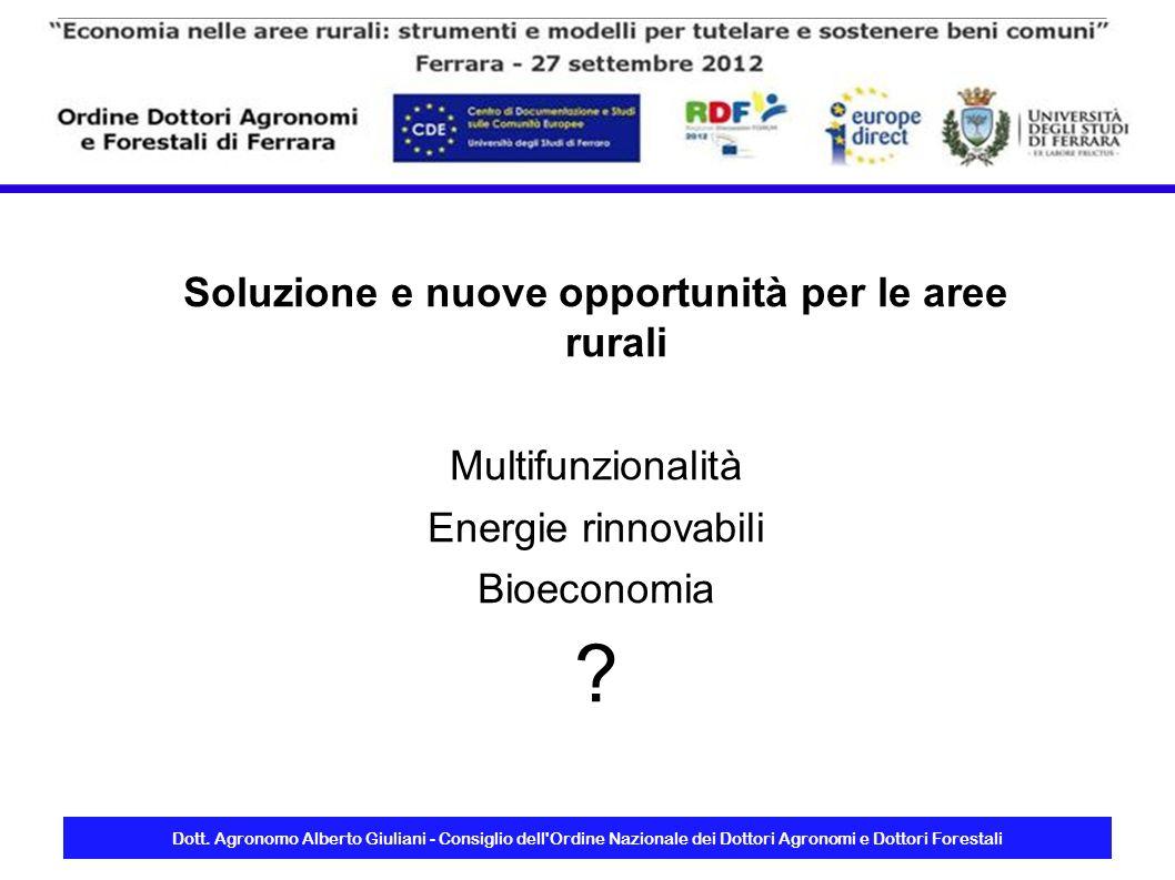 Dott. Agronomo Alberto Giuliani - Consiglio dell'Ordine Nazionale dei Dottori Agronomi e Dottori Forestali Soluzione e nuove opportunità per le aree r
