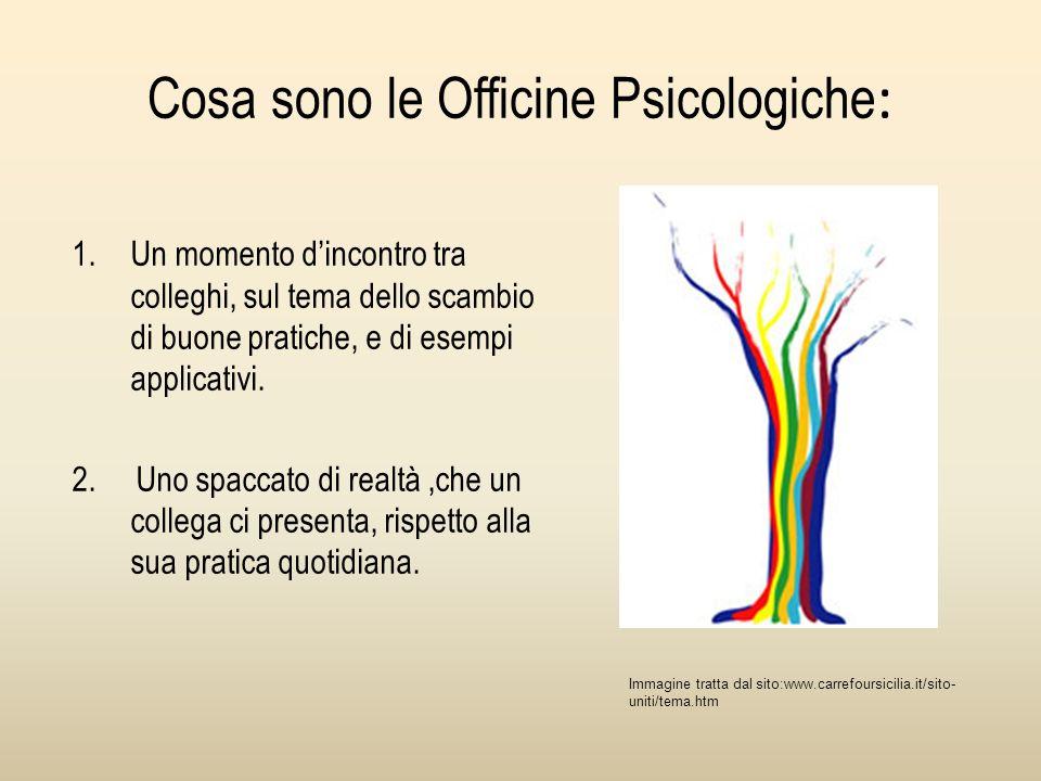 Cosa sono le Officine Psicologiche : 1.Un momento dincontro tra colleghi, sul tema dello scambio di buone pratiche, e di esempi applicativi.