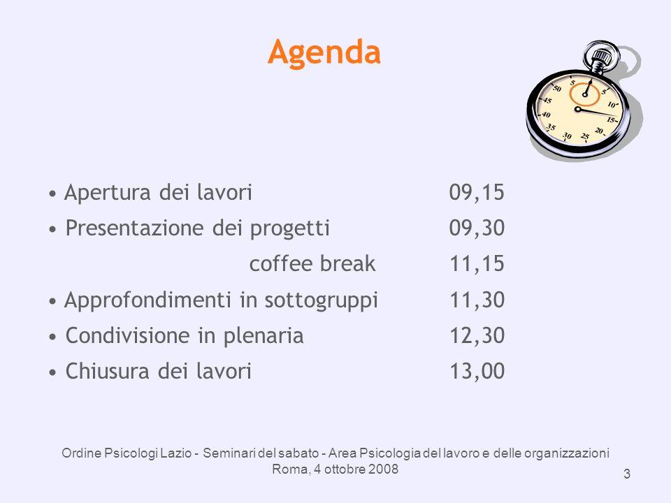 Ordine Psicologi Lazio - Seminari del sabato - Area Psicologia del lavoro e delle organizzazioni Roma, 4 ottobre 2008 3 Agenda Apertura dei lavori09,15 Presentazione dei progetti09,30 coffee break11,15 Approfondimenti in sottogruppi11,30 Condivisione in plenaria12,30 Chiusura dei lavori13,00