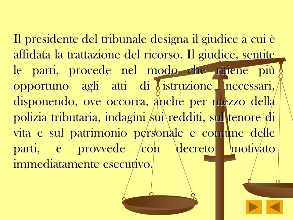 Il presidente del tribunale designa il giudice a cui è affidata la trattazione del ricorso. Il giudice, sentite le parti, procede nel modo che ritiene