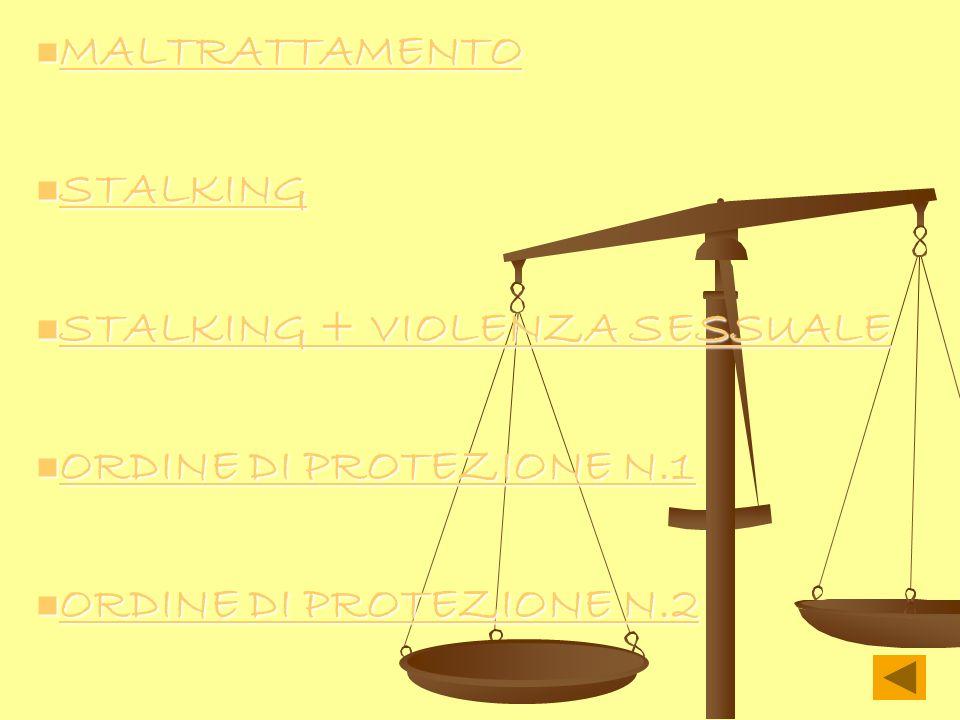 MALTRATTAMENTO MALTRATTAMENTO MALTRATTAMENTO STALKING STALKING STALKING STALKING + VIOLENZA SESSUALE STALKING + VIOLENZA SESSUALE STALKING + VIOLENZA