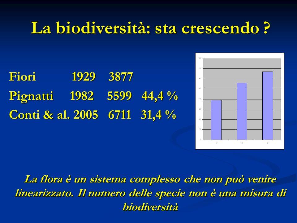 La biodiversità: sta crescendo . La biodiversità: sta crescendo .