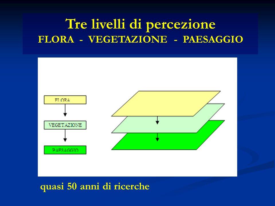 Tre livelli di percezione FLORA - VEGETAZIONE - PAESAGGIO quasi 50 anni di ricerche