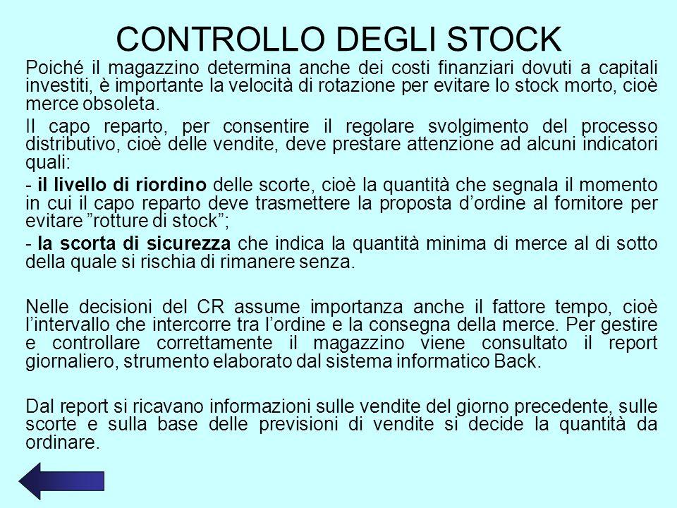 CONTROLLO DEGLI STOCK Poiché il magazzino determina anche dei costi finanziari dovuti a capitali investiti, è importante la velocità di rotazione per evitare lo stock morto, cioè merce obsoleta.