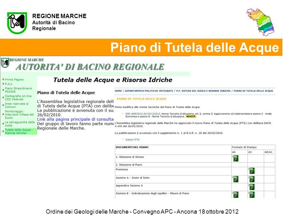 REGIONE MARCHE Autorità di Bacino Regionale Piano di Tutela delle Acque Ordine dei Geologi delle Marche - Convegno APC - Ancona 18 ottobre 2012
