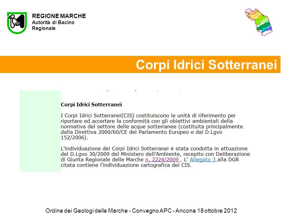 Ordine dei Geologi delle Marche - Convegno APC - Ancona 18 ottobre 2012 REGIONE MARCHE Autorità di Bacino Regionale Corpi Idrici Sotterranei