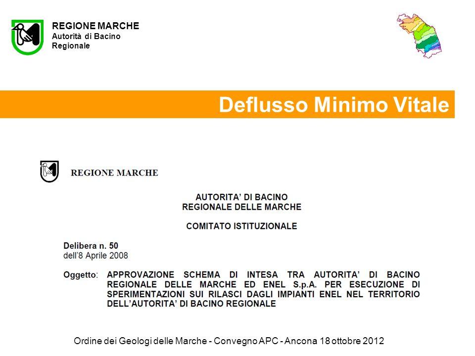 Ordine dei Geologi delle Marche - Convegno APC - Ancona 18 ottobre 2012 REGIONE MARCHE Autorità di Bacino Regionale Deflusso Minimo Vitale