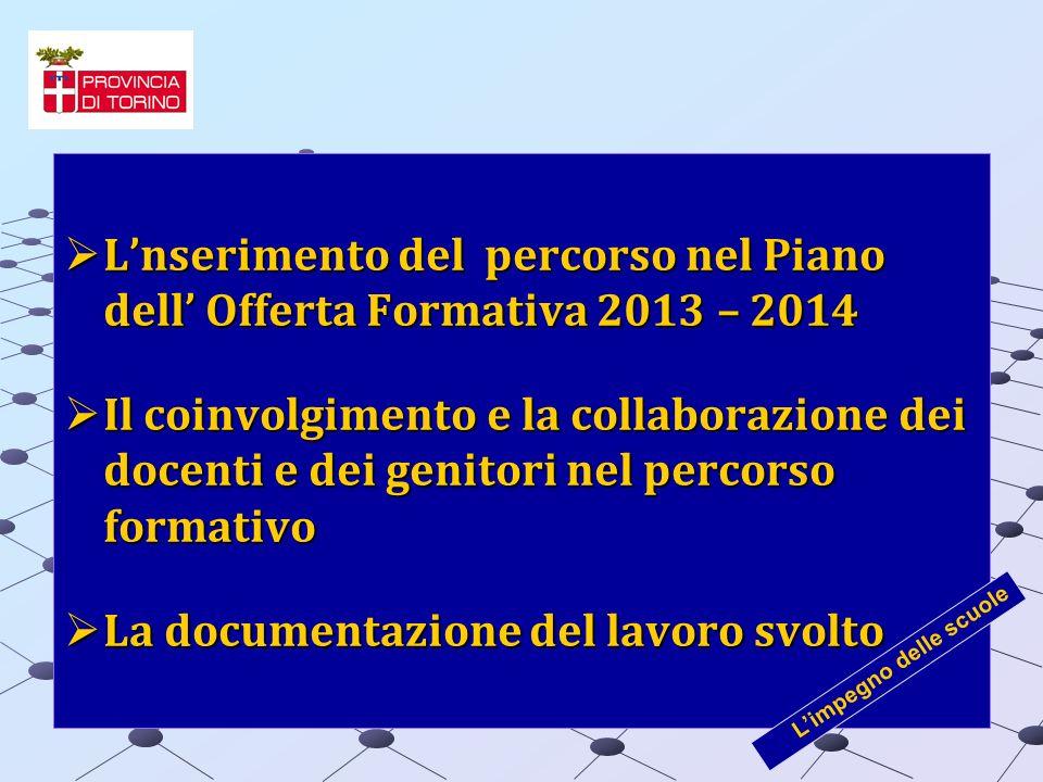 Lnserimento del percorso nel Piano dell Offerta Formativa 2013 – 2014 Lnserimento del percorso nel Piano dell Offerta Formativa 2013 – 2014 Il coinvol