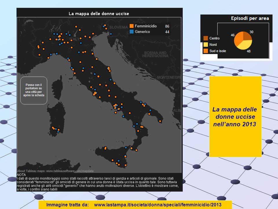 Immagine tratta da: www.lastampa.it/societa/donna/speciali/femminicidio/2013 La mappa delle donne uccise nellanno 2013