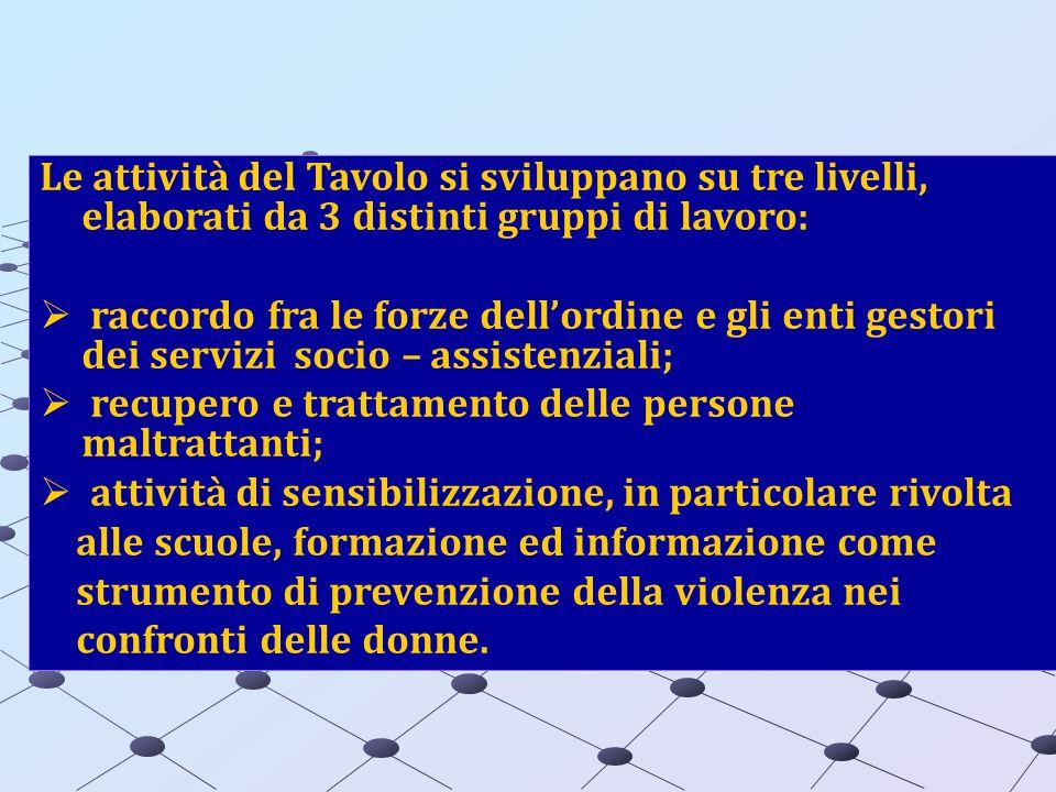 Le attività del Tavolo si sviluppano su tre livelli, elaborati da 3 distinti gruppi di lavoro: raccordo fra le forze dellordine e gli enti gestori dei