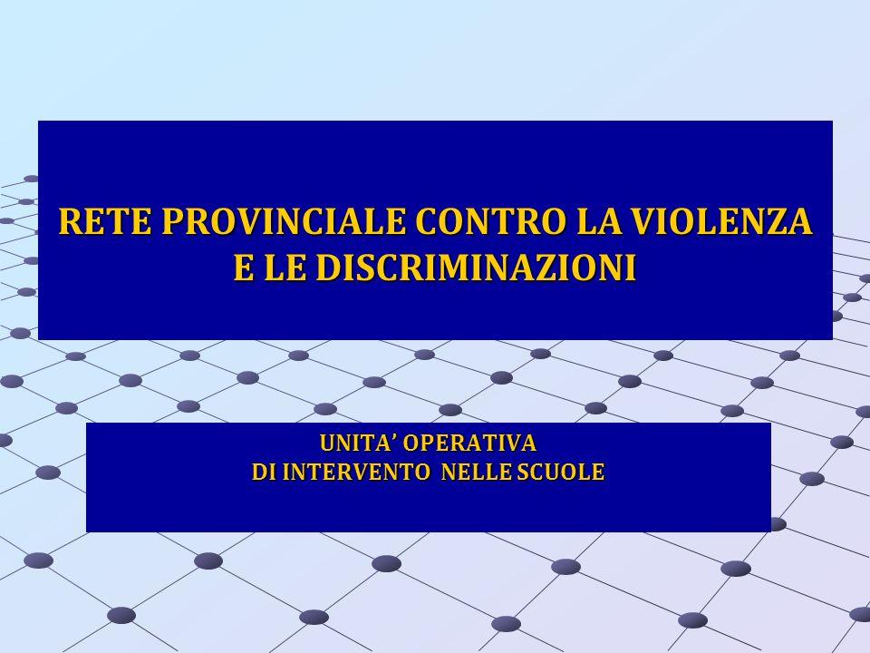 RETE PROVINCIALE CONTRO LA VIOLENZA E LE DISCRIMINAZIONI UNITA OPERATIVA DI INTERVENTO NELLE SCUOLE