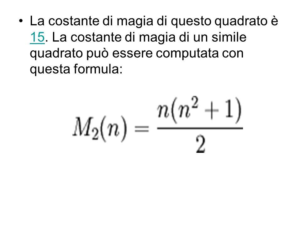La costante di magia di questo quadrato è 15. La costante di magia di un simile quadrato può essere computata con questa formula: 15