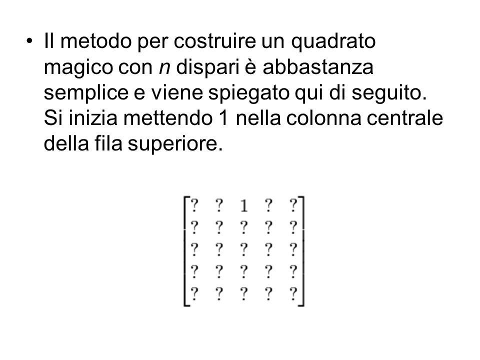 Si compila la colonna seguente del numero uno (a destra) e ad una fila superiore.