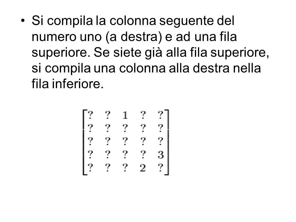 Si compila la colonna seguente del numero uno (a destra) e ad una fila superiore. Se siete già alla fila superiore, si compila una colonna alla destra