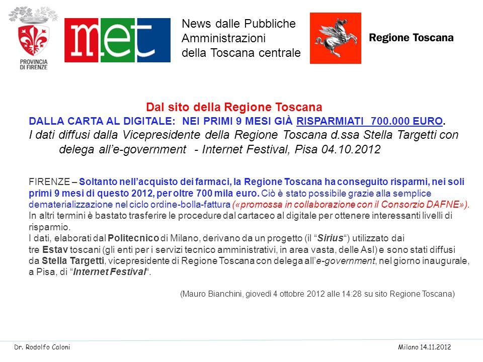 FIRENZE – Soltanto nellacquisto dei farmaci, la Regione Toscana ha conseguito risparmi, nei soli primi 9 mesi di questo 2012, per oltre 700 mila euro.