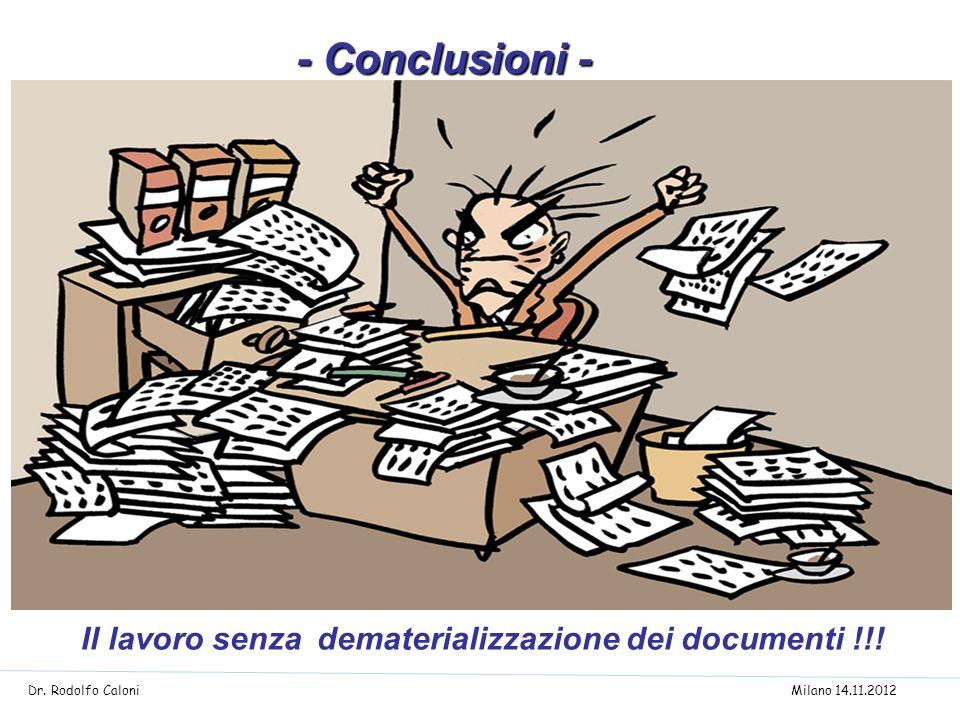 Il lavoro senza dematerializzazione dei documenti !!! - Conclusioni - - Conclusioni - Dr. Rodolfo Caloni Milano 14.11.2012