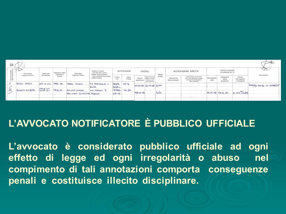 LAVVOCATO NOTIFICATORE È PUBBLICO UFFICIALE Lavvocato è considerato pubblico ufficiale ad ogni effetto di legge ed ogni irregolarità o abuso nel compi